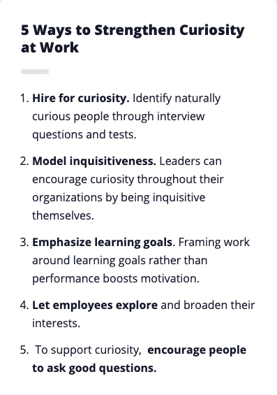 how to strengthen curiosity in the workplace